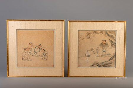 Chinese school: two animated scenes, ink and colour on paper, Qing