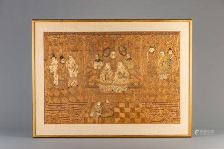 A framed Chinese silk embroidery with figurative design, 19th C.