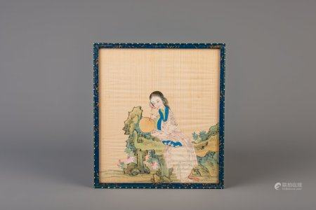 Chinese school: A lady with a fan, ink and colours on silk, 19th C.