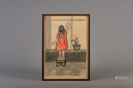Chinese school, Yin Xin (1959): Chinese girl, lithograph, dated 1984, ed. 3/3