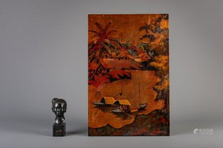 Vietnamese school, Maison Thanh Le: A lacquered panel and a bronze head of a girl, 20th C.