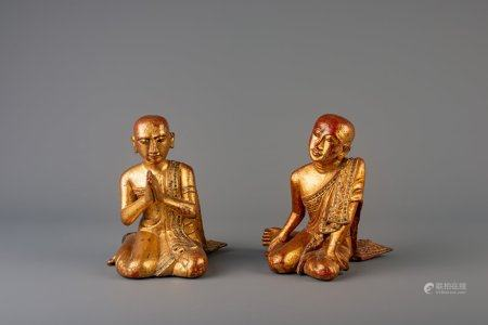 A pair of Thai gilt lacquered servant figures, 19th/20th C.