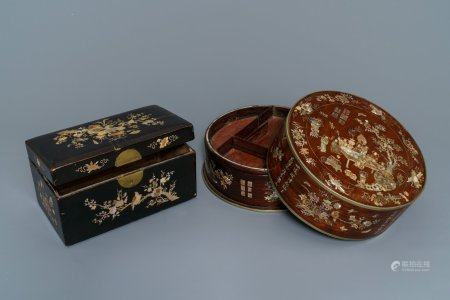 Two Chinese mother-of-pearl inlaid wooden boxes for the Vietnamese market, 19th C.