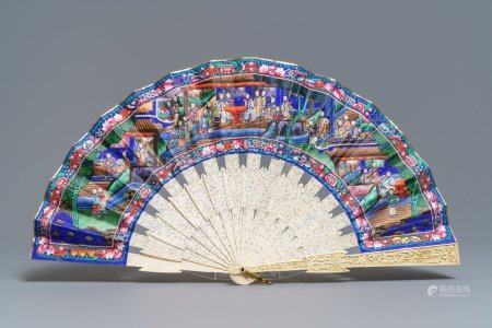A Chinese painted paper and ivory fan in the original lacquer box, Canton, 19th C.