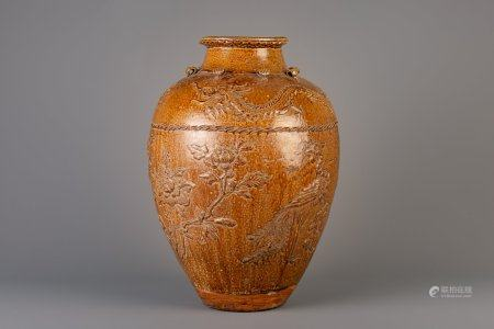 A large Chinese brown glazed stoneware martaban, 19th/20th C.
