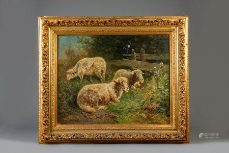 Henry Schouten (1857-1927): Sheep in a meadow, oil on canvas