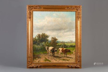 Hendrik Savry (1871-1942): Cows in a landscape, oil on canvas