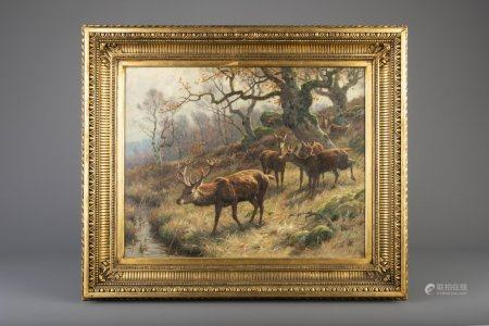 Georges Frédéric Rötig (1873-1961): Deer in a forest, oil on canvas, dated (19)14