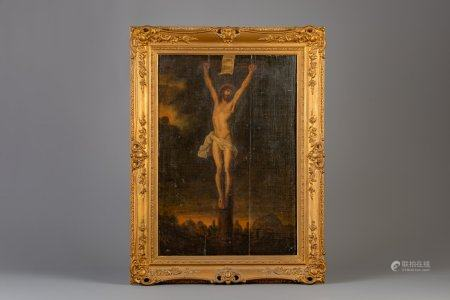 Flemish school, after Peter Paul Rubens (1577-1640): Christ expiring on the cross, oil on canvas marouflated on panel