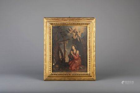 Flemish or French school: The penitent Magdalene, oil on panel, 17th/18th C.