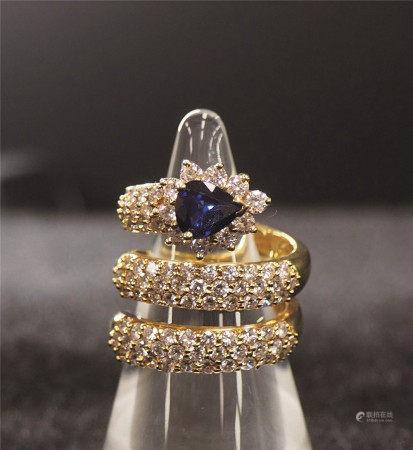 蓝宝石镶钻戒指