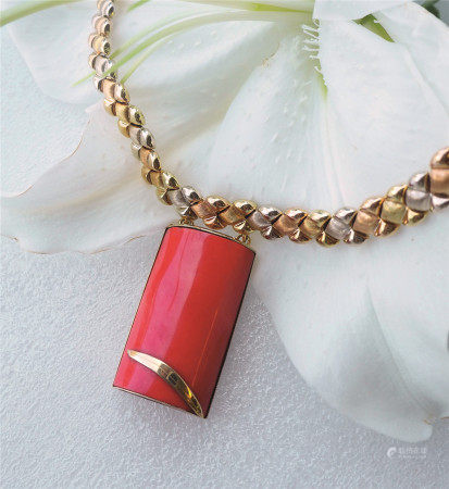 珊瑚金饰项链