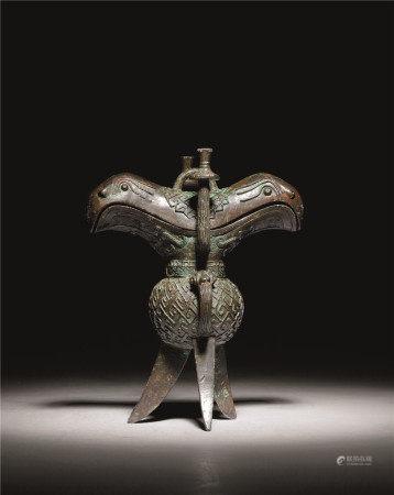 西周 青铜兽头盖角