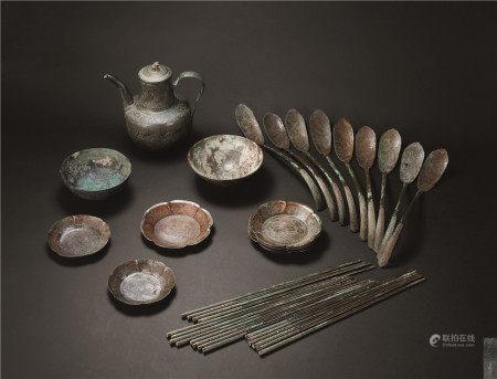唐 银鎏金錾花食器 (一组)