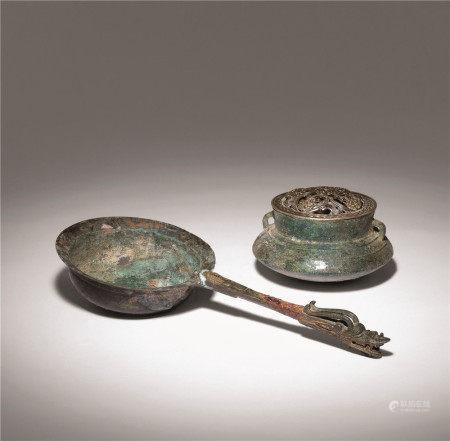 汉 青铜龙头鐎斗、青铜双系耳罐 (两件)