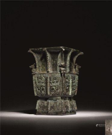 宋 青铜兽面纹出戟方尊