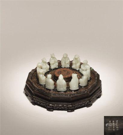 清 白玉雕十二生肖甲子万年宝盒 内含白玉十二生肖雕件一组