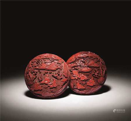 清乾隆 剔红观梅图双面雕盒