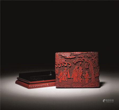 明十六世纪 剔红孔明出山图长方盒