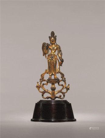 唐 铜鎏金观音立像