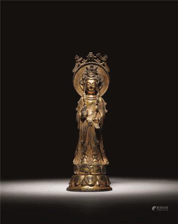 隋唐 铜鎏金观音立像