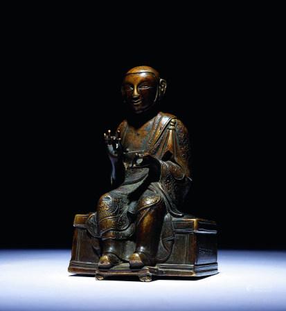 十二世纪 西藏铜垂足上师坐像