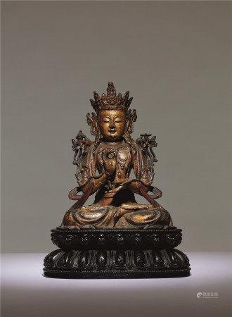 明 铜泥金文殊菩萨座像