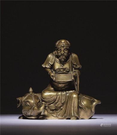 元或明 铜雕骑象罗汉