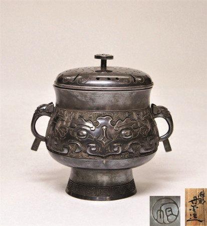 山口丹金 银制饕餮纹香炉