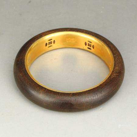 Inside Diameter 58 MM Gilt Gold Chenxiang Wood Bracelet