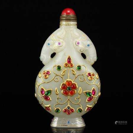 Superb Hetian Jade Inlay Gold Wires & Gem Snuff Bottle