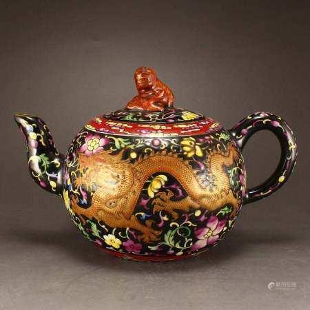 Gilt Gold Enamel Dragon Phoenix Zisha Clay Teapot