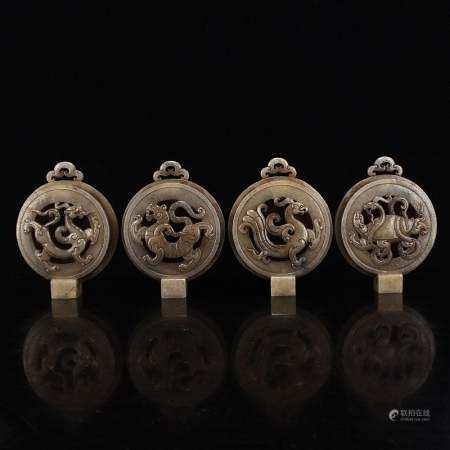 Set Four Vintage Hetian Jade Lucky Beasts Belt Buckles