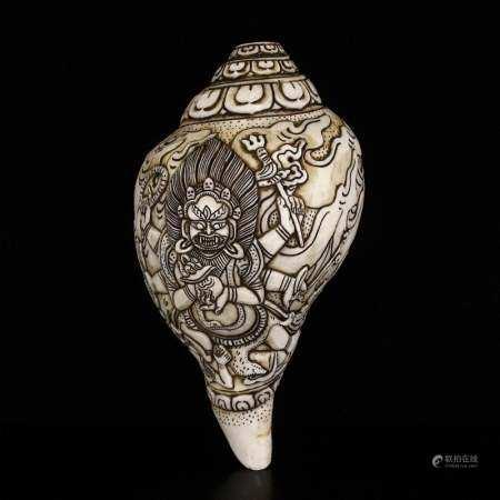Vintage Tibetan Buddhism Conch Prayer Trumpet