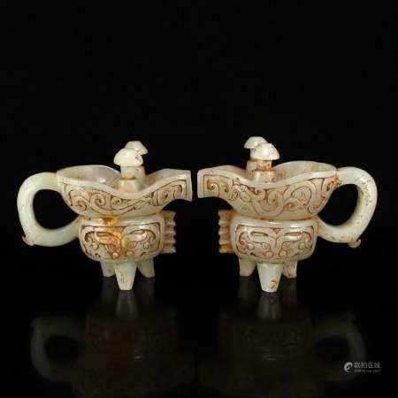 Pair Vintage Chinese Low Relief Hetian Jade Wine Cups