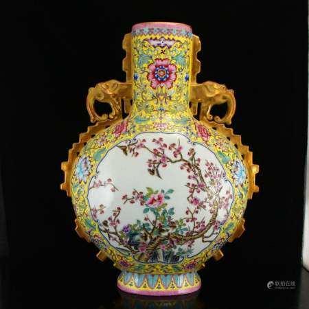 Gilt Yellow Ground Famille Rose Porcelain Phoenix Vase