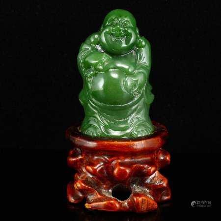 Superb Chinese Green Hetian Jade Laughing Buddha Statue