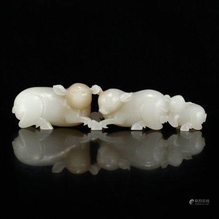Superb Natural Hetian Jade Statue - Fortune Pigs
