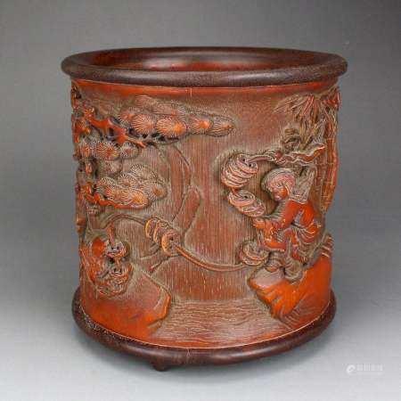 Vintage Bamboo Liuhai Taolism Deity & Toad Brush Pot