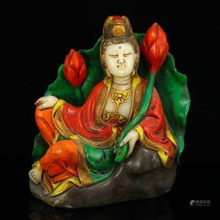 Gilt Gold Shoushan Stone Statue - Lotus Flower Kwan-yin