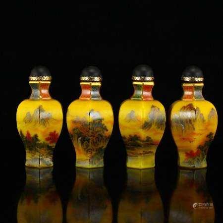 Set Chinese Gilt Gold Yellow Peking Glass Snuff Bottles