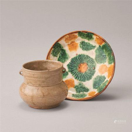 六朝 辽代 青瓷壶与三彩盘