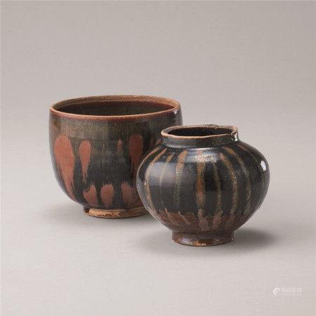 金代 黑釉锈花碗及壶