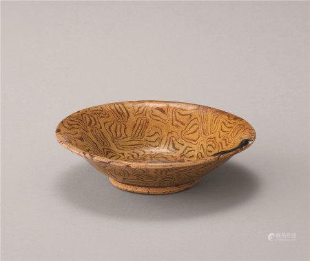 唐代 黄釉绞胎碗
