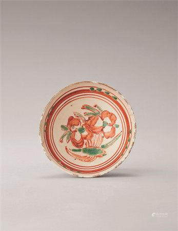 金代 红绿彩花卉纹碗
