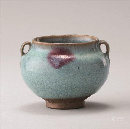 元代 淀青釉紫红斑纹罐