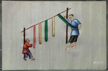 """6 Malereien, """"Wollweber"""", China, Ende 19. Jh., Farbe auf Reispapier, 17 x 26 cm, 1x Einriss- - -25."""