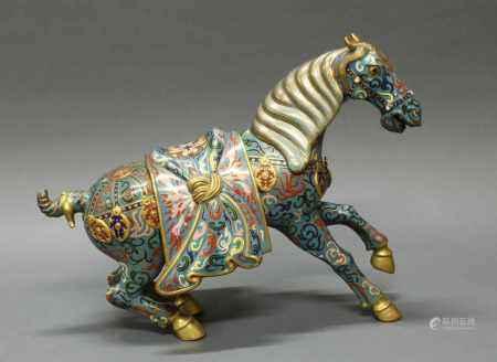 """Figur, """"Pferd"""", China, 2. Hälfte 20. Jh., Cloisonné, zum Sprung ansetzend, mit einzusteckender"""