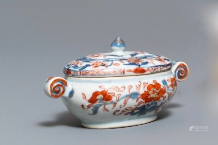 A Chinese Imari style tureen and cover with floral design, Kangxi