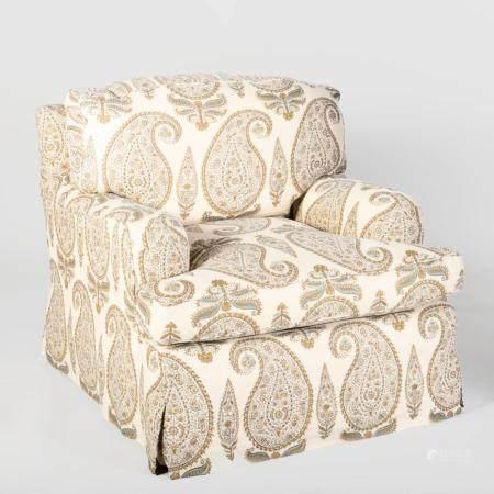 Paisley Linen Slip Cover Upholstered Club Chair